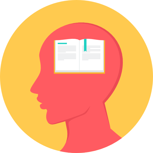 Icon of a head and an open book